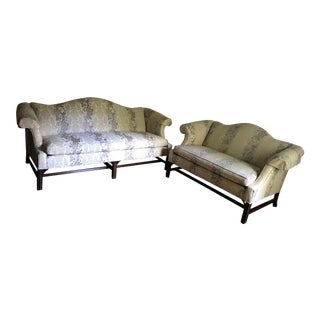 Ethan Allen Camel Back Sofa and Love Seat W/ Chippendale Style Legs -Individual or Set For Sale