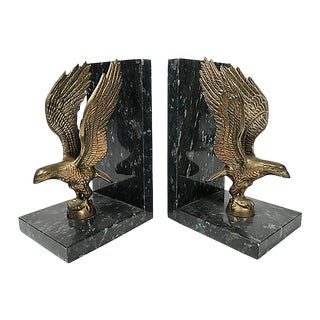Marble & Brass Eagle Bookends, Pair For Sale