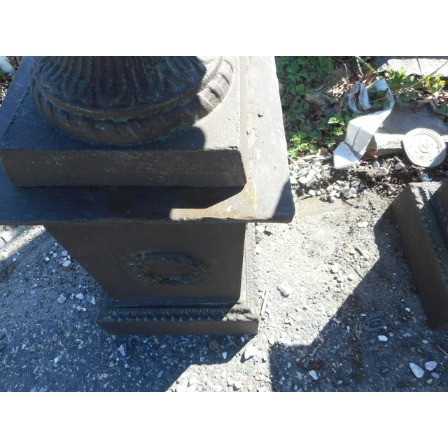 Cast Iron Impressive Pair of Cast Iron Urns For Sale - Image 7 of 11