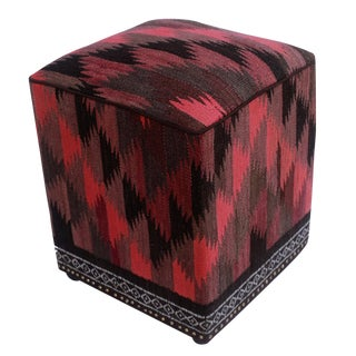 Arshs Doretta Pink/Black Kilim Upholstered Handmade Ottoman For Sale
