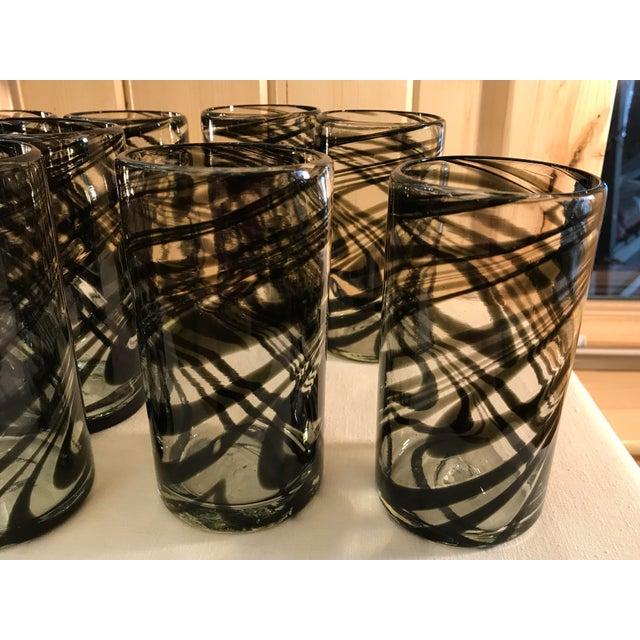 Vintage Hand-Blown Black Swirl Tumbler Glasses - Set of 10 - Image 10 of 11