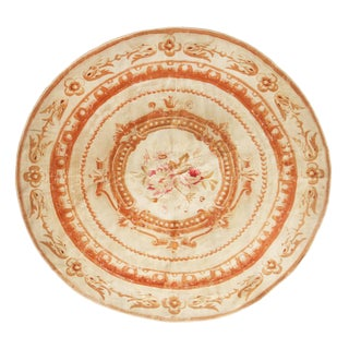 Antique Aubousson Traditional Peach and Beige Wool Circle Rug For Sale