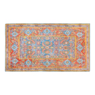 "1920s Traditional Red and Blue Cotton Rug - 4'x6'10"" For Sale"