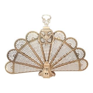 19th Century French Polished Brass Fan Fire Screen For Sale