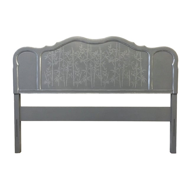 Wood 1960s Contemporary Gray Hand Painted Full Size Headboard For Sale - Image 7 of 7