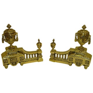 Pair of Louis XVI Style Polished Brass Chenets or Andirons, 19th Century For Sale