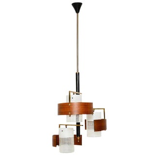 Italian Chandelier With Teak Diffusers For Sale