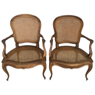 18th Louis XV Cane Back and Seat Fauteuil Armchairs For Sale