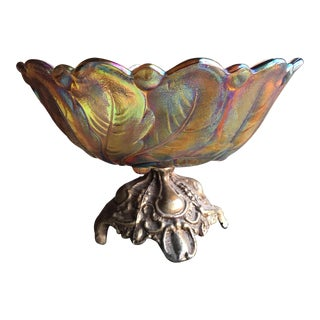 Amber Carnival Glass Sunflower Pedestal Bowl For Sale