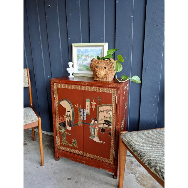 1960s 1960s Hand-Painted Chinoiserie Cabinet / Night Stand For Sale - Image 5 of 13