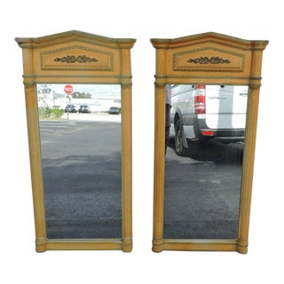 Pair of French Painted Wall Bedroom Bathroom Vanity Mirrors For Sale