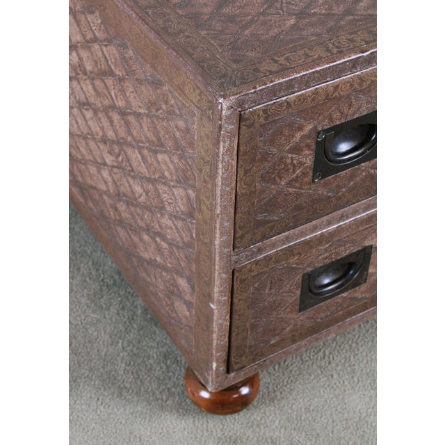 Campaign Maitland Smith Distressed Brown Tooled Leather Campaign Coffee Table with Drawers For Sale - Image 3 of 12