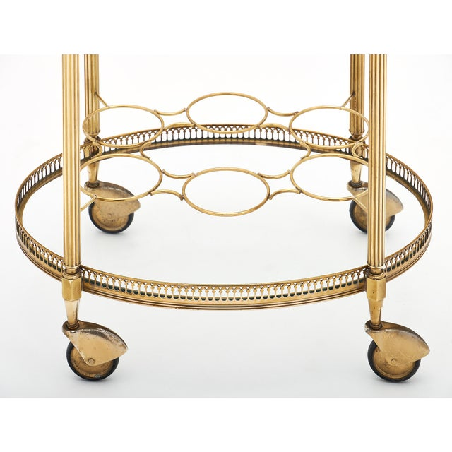 Gold Art Deco Period Brass Oval Bar Cart For Sale - Image 8 of 10