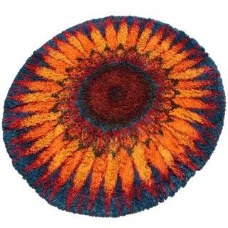 1970s Mid Century Modern Starburst Flower Circular Shag Rug For Sale