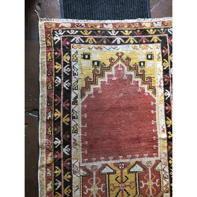 Antique Turkish Wool Prayer Rug For Sale - Image 4 of 9