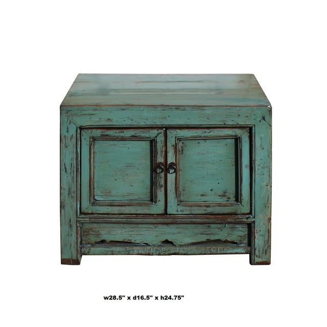 Oriental Distressed Aqua Green Lacquer Side End Table Nightstand For Sale In San Francisco - Image 6 of 8