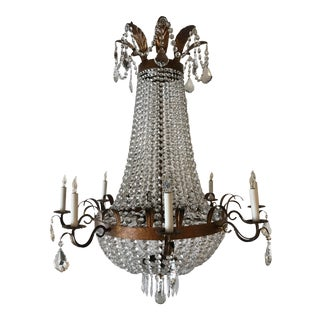 French Crystal Chandelier With Bronze Painted Patina For Sale