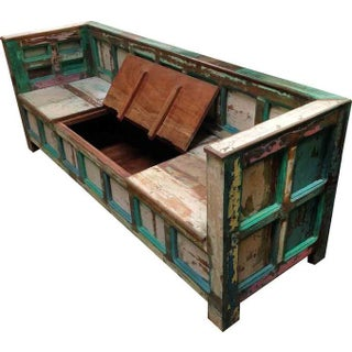 Reclaimed Wood Painted Bench
