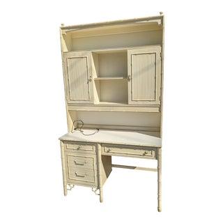 1972 Thomasville Allegro Faux Bamboo Secretary Desk + Hutch For Sale