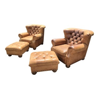 Ralph Lauren Home Leather Writer's Chairs & Ottoman - Set of 4
