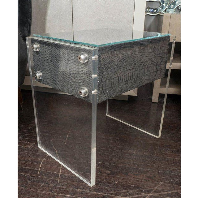 Gray Pair of Gunmetal Gray Python Nightstands with Lucite Side Panels For Sale - Image 8 of 9