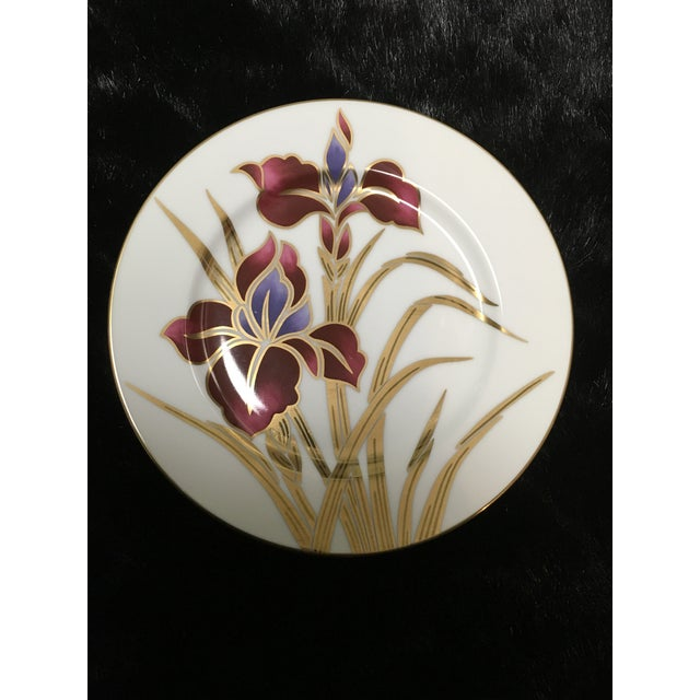 """Fitz and Floyd Fritz and Floyd """"Iris Burgundy"""" Salad Plates - Set of 7 For Sale - Image 4 of 5"""