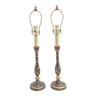 Pair of Painted Wood Candlestick Lamps With Flowers For Sale