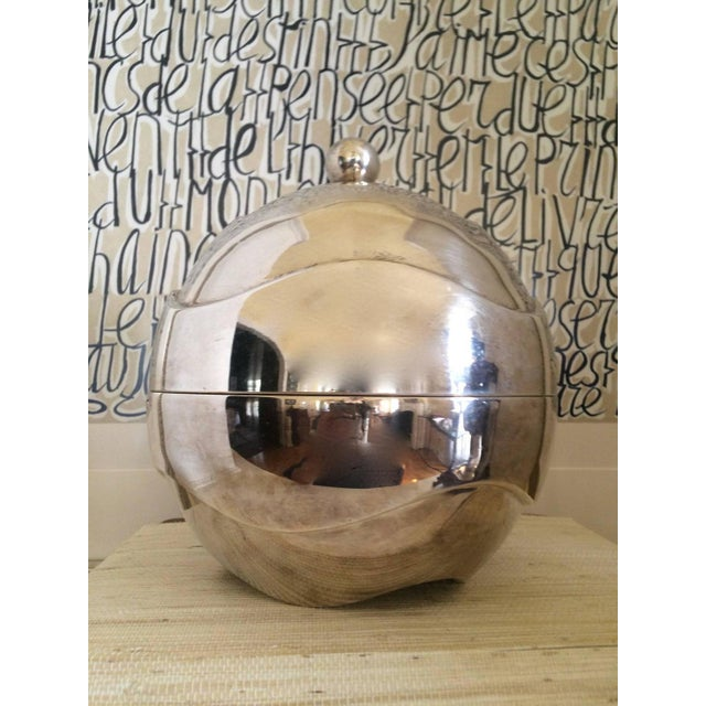1960s Spherical Silver-Plate Ice Bucket - Image 2 of 3