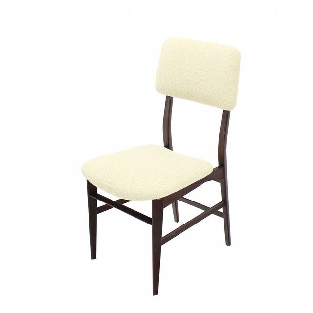 Set of Four Italian Modern Walnut Dining Chairs New Upholstery For Sale - Image 4 of 7