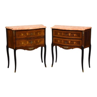 Louis XV French Style Nightstand Commodes - a Pair For Sale