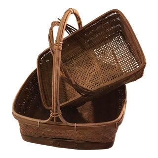 Vintage Woven Baskets - A Pair
