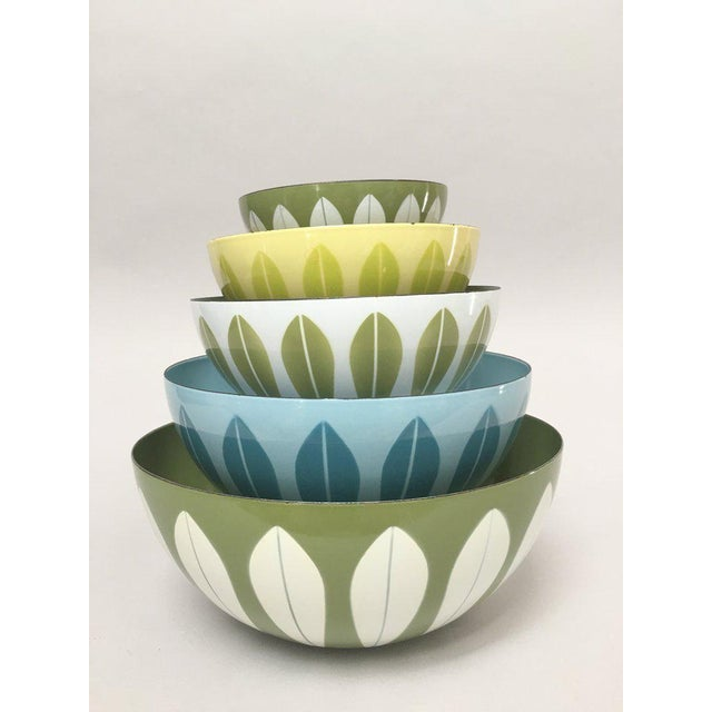 """Set of iconic lotus bowls from midcentury Norwegian company Cathrineholm. The largest measures about 11"""" diameter x 4.75""""..."""