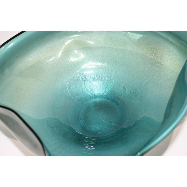 Artisan Glass Biomorphic Form Bowl Silver Flecks For Sale - Image 4 of 13