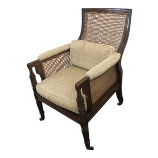 19th Century Vintage English Regency Mahogany Caned Bergere Upholstered in Fonthill Stark Fabric - Pattern Scherzo - Color Sand For Sale