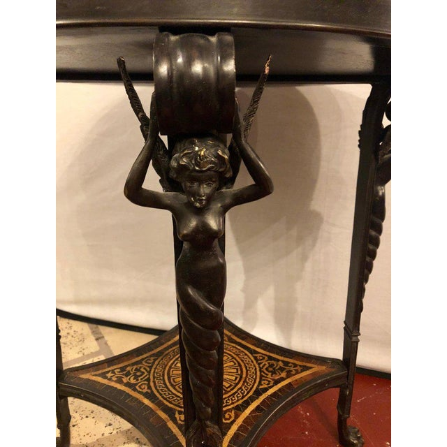 Bronze 19th Century Tortoise Shell Top Bronze Figural Center or End Lamp Table For Sale - Image 7 of 13