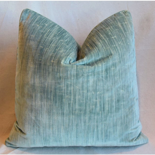 """Early 21st Century Clarence House Velvet Fabric Feather/Down Pillows 21"""" Square - Pair For Sale - Image 5 of 13"""