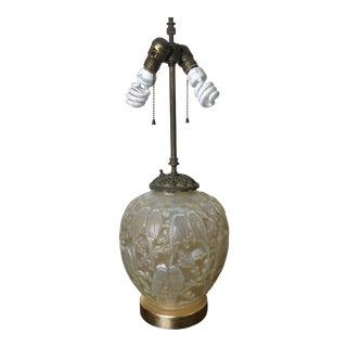 Art Nouveau Victorian Fenton Iridescent Lamp For Sale