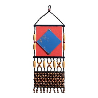 Mid 20th Century Boho Beaded Mirror and Pocket Wall Hanging For Sale