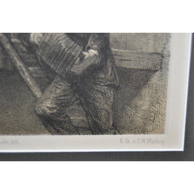 Vintage European Engraving of Two Young Lovers - Image 4 of 7