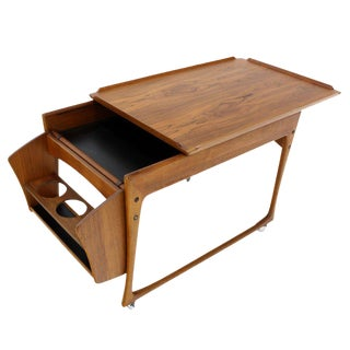 Danish Modern Rolling Teak Bar Cart For Sale