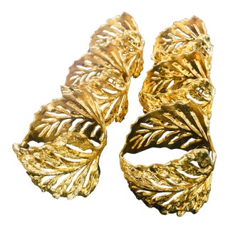 Mid-Century Gold Frond Napkin Rings - Set of 6 For Sale