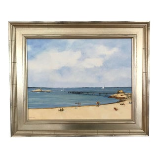 """Nonquitt Beach"" Contemporary Seascape Oil Painting by Frank McCoy, Framed For Sale"