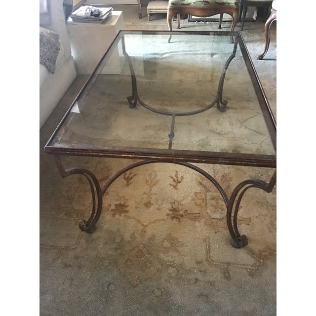 Large Rectangular Iron Glass Top Coffee Table - Image 4 of 7