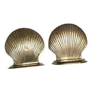 Mid Century Modern Brass Shell Bookends - a Pair For Sale