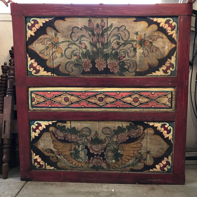 South East Asian Painted Teak Wall Panel - Image 2 of 4