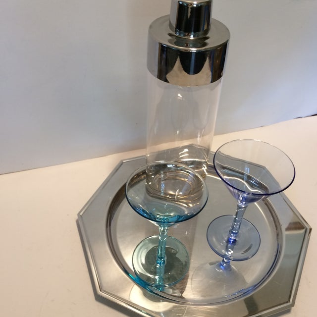 Vintage Martini Shaker with 2 Glasses & Silver Plated Tray Set - Image 10 of 11