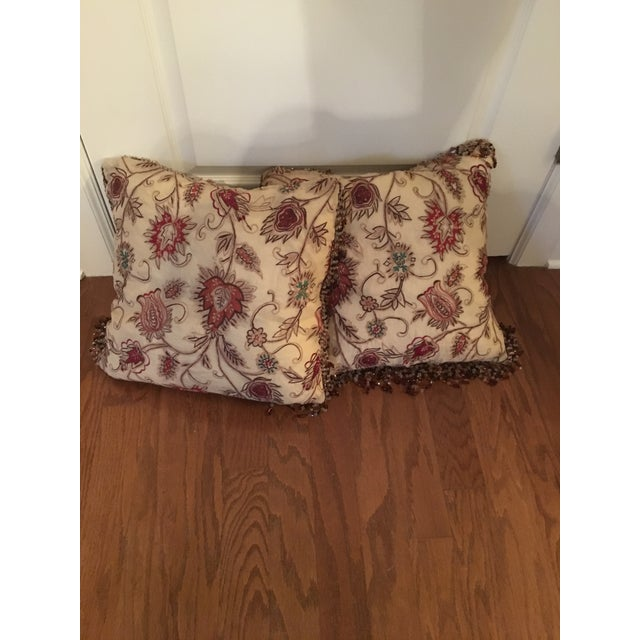 Vintage Silk Needle Point Fabric Pillows - A Pair - Image 3 of 8