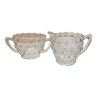 Vintage Glass Hobnail Sugar & Creamer - A Pair For Sale