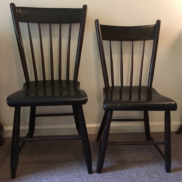 Two oak chairs made by my grandmother's grandfather's brother in Paradise, Snyder County, Pennsylvania, before the Civil....