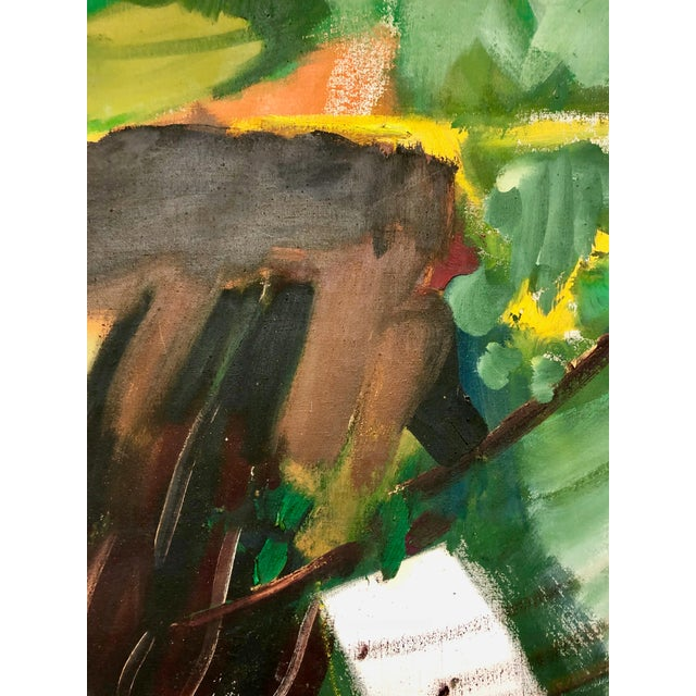 Fun and vibrant abstract painting, the artist, is unknown. Accents of bold green and brown tones with broad brush strokes...